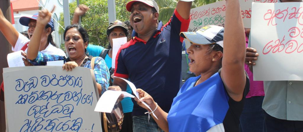 Sri Lankan workers with the union FTZ&GSEU protest for the right to strike