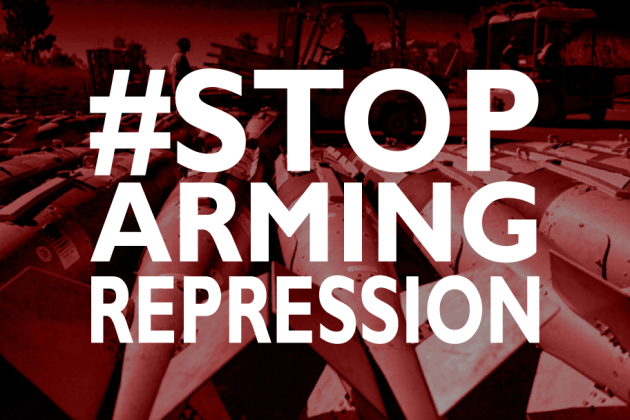 "the hashtag in big white letters: ""#StopArmingRepression. The background is a red, white and black photo of a row of bombs."