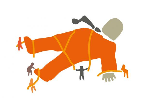 The Stop Corporate Impunity logo. An illustration of people tying down a giant 'corporate' man in an orange suit and grey tie.