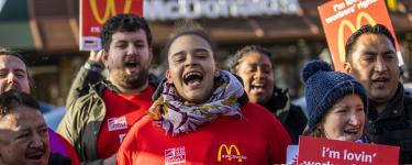 McDonald's workers strike outside a London store. Photo: TUC/Jess Hurd