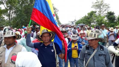 People protest in Colombia. Photo: ONIC.
