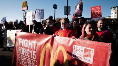 Workers take strike action on 4 November 2019, protesting in front of a McDonald's restaurant. Photo: War on Want
