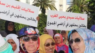 Soulaliyate women protesting. Photo: Twitter / @DrissElyazami