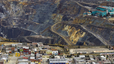 The Raúl Rojas open-pit mine in Cerro de Pasco: the pit stretches for 1.2 miles and is over 1,000 feet deep. Credit: Jonathan Chancasana / Adobe Stock