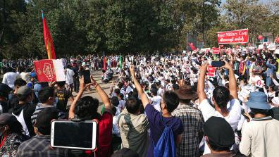 Protest against military coup, 9 Feb 2021, Hpa-An, Kayin State, Myanmar. Photo: Ninjastrikers
