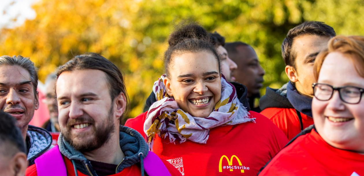 McDonald's workers take strike action with supporters. Photo: TUC/Jess Hurd